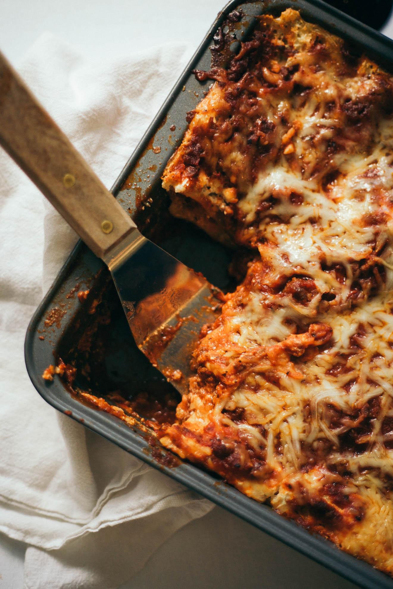 food photography lasagna