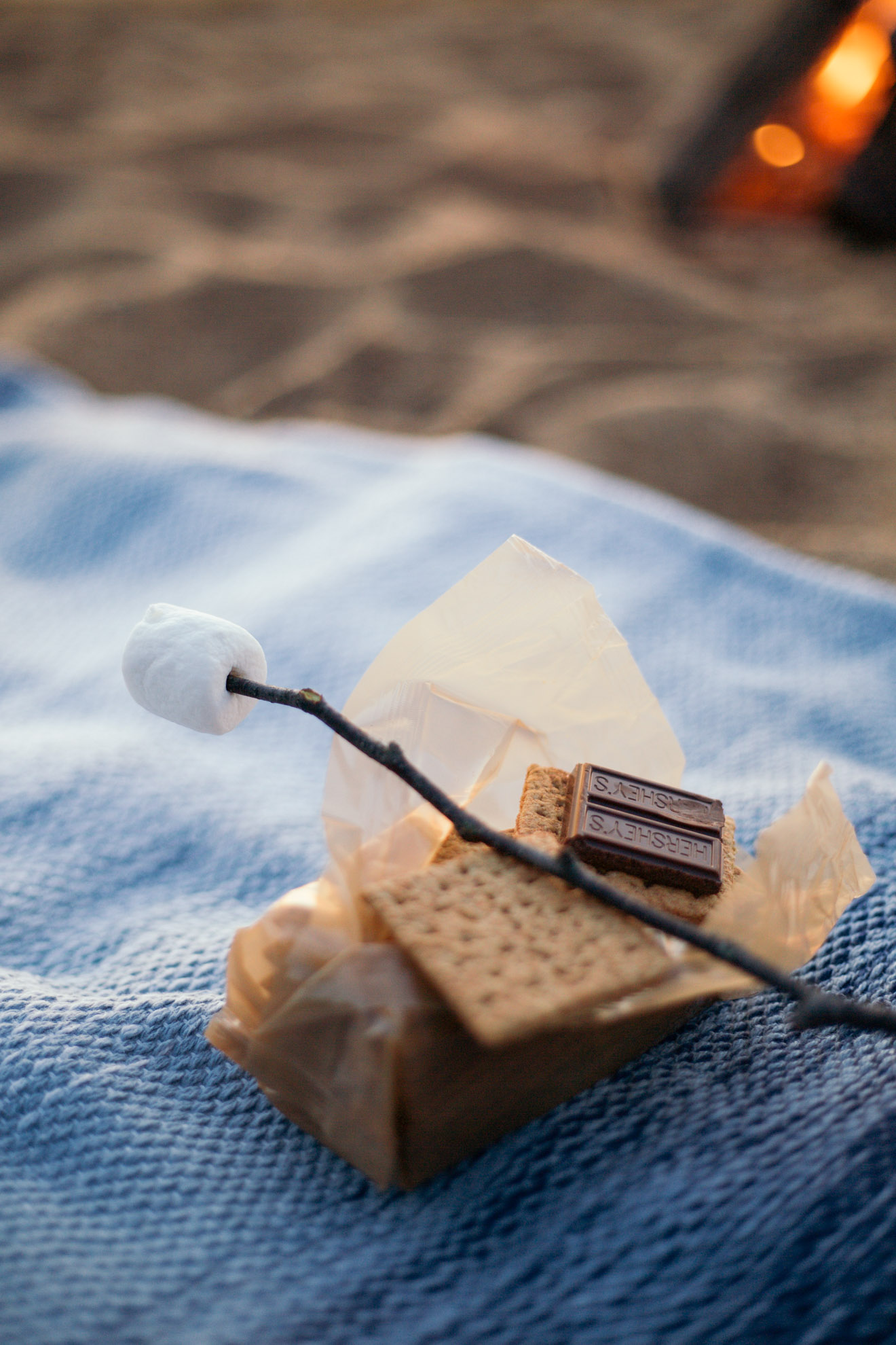 marshmallow on a stick with smores